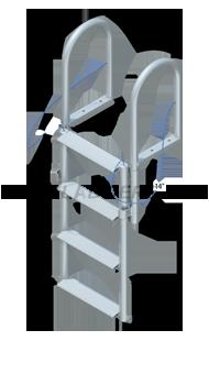 Floating Dock Lift Ladder - Wide Steps